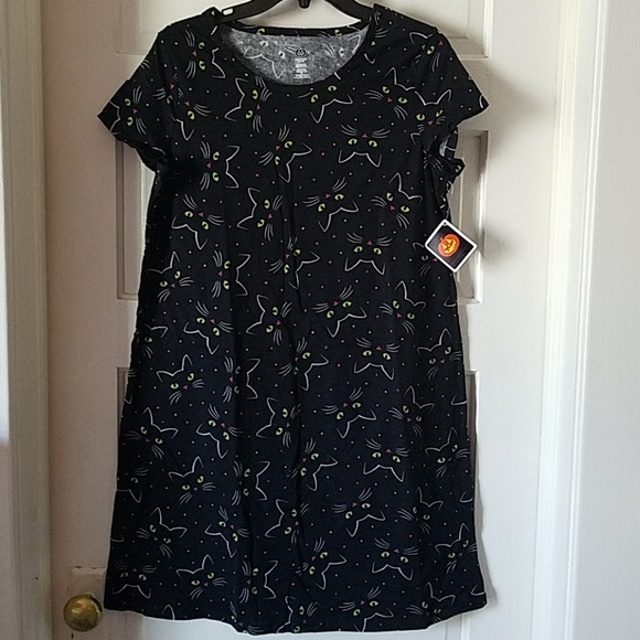 b80e7b8ac4 Black Cat Pajamas  Nightgown Sz Small  Halloween